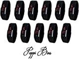 Pappi Boss Imported Unisex BLACK Set of 11 Digital Rubber Jelly Slim Silicone Sports Led Smart Band Watch for Boys, Girls, Men, Women, Kids - SALE OFFER