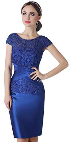 Albrose Lace Mother of the Bride Evening Dresses knee length with Jacket