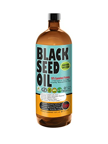 Sweet Sunnah Black Seed Oil Cold Pressed (First Pressing)16 oz.- Non GMO Unrefined & Unfiltered,No Preservatives & Artificial Color - Glass Bottle - Product of USA (Pressed Glasses compare prices)
