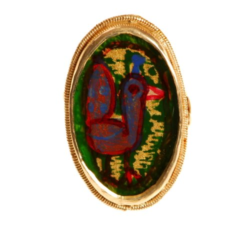 Exclusive Hand Painted Oval Shape Silver Finger Ring