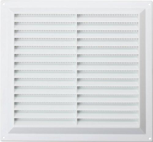 Abluftstutzen/ Abluftgitter Louvre, Kunststoff, mit Fliegenschutz, 22,9x22,9cm, Kunststoff, Weiß