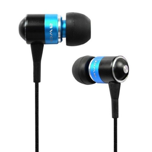 Awei® Es-Q3I Noise Isolation Precise With Precise Bass 3.5Mm Headphones Metal Earphones With Mic For Iphone 4/4S/5/5S Ipod Samsung Htc (Blue)