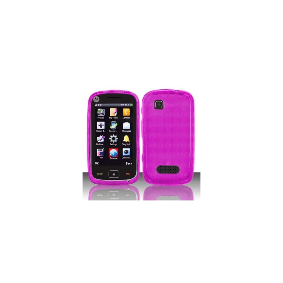 For Net 10 Motorola EX124g Accessory   Pink Agryle TPU Soft Gel Case Proctor Cover + Lf Stylus Pen0 Cell Phones & Accessories