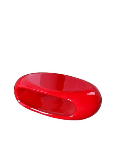 Fox Hill Trading Co. Gloss Fuctional Coffee Table Oval, Red As You See