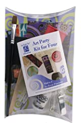 Art Night Out Party Kit for 4 People Makes 4 Rectangle Resin Pendants in Silver Plate
