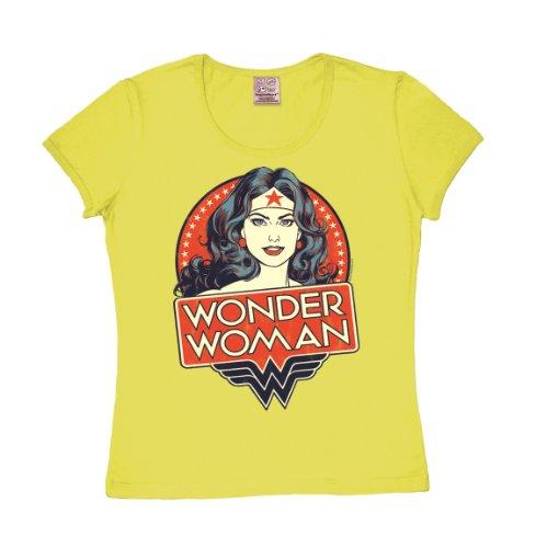 T-shirt donna Wonder Woman - Ritratto - DC Comics - Wonder Woman - Portrait - L'eroina - maglietta girocollo di LOGOSHIRT - giallo - design originale concesso su licenza, taglia S