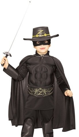 Zorro ™ Costume for boys with muscle chest - 5 to 7 years/ Small-Medium