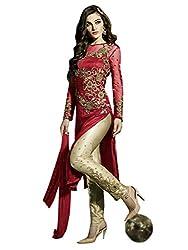 1 Stop Fashion Red Semi Stitched Net Straight Pant Style Salwar Kameez