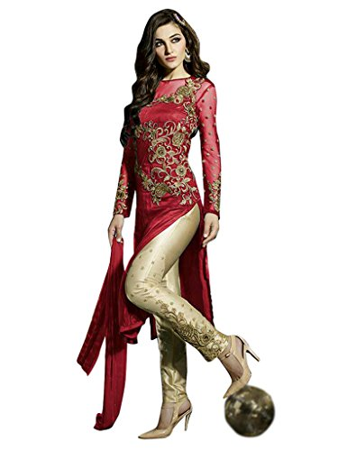 1 Stop Fashion Red Semi Stitched Net Straight Pant Style Salwar Kameez