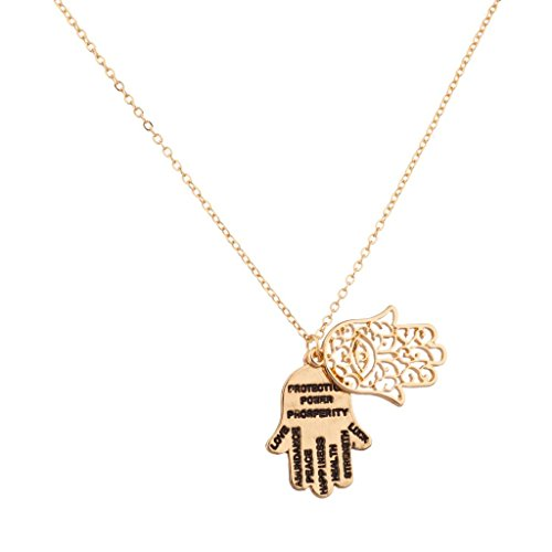 Lux Accessories Hamsa Love Abundance Peace Happiness Health Strength Luck Inspiration Necklace