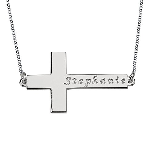 Solid Sterling Silver Sideways Cross Necklace