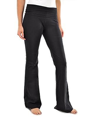 Viosi Women's Premium 250gsm Fold Over Cotton Spandex Lounge Yoga Pants