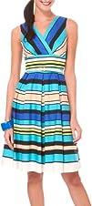 Rabbit Rabbit Stripe Print Surplice Belted Dress