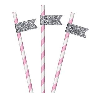 Dress My Cupcake 25-Pack Paper Cakepop Straws with Glitter Pennant DIY Bundle, 6-Inch, Silver Glitter, Bubblegum Pink Striped