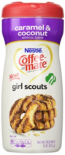 Coffee-Mate Powdered Creamer - Girl Scouts Caramel & Coconut Flavored 15oz (Pack of 4)