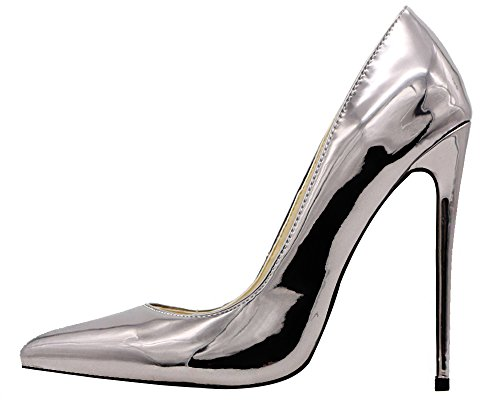 MONICOCO Women's Pointed Toe High Heels Dress Party Pumps Shoes Mirror Patent Platinum 7.5 M US (Platinum Heels For Women compare prices)