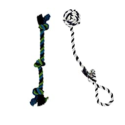 Two Tug of War Dog Knotted Cotton Rope Toys for Interactive Play (Toy Set #2)