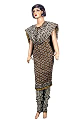 Women's Chanderi Cotton Unstitched Salwar Suit Dress Material Golden Border(Dress_570_FreeSize_Multicolor)
