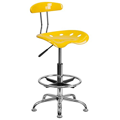 MFO Vibrant Orange-Yellow and Chrome Drafting Stool with Tractor Seat