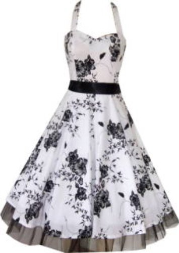 Pretty Kitty Fashion White Black Floral Evening