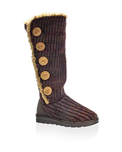 MUK LUKS Women's Malena Crotchet Button-Up Boot  [Dark Red]