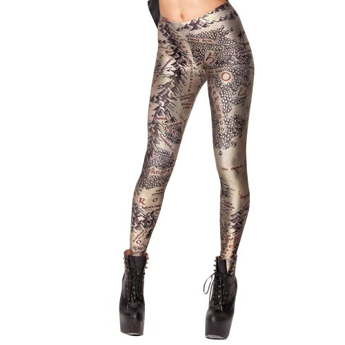 Amour - Fashion Digital Printed Middle Earth Map Leggings Tights (Map Ring compare prices)