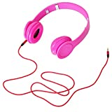 Adjustable Foldable 3.5mm Over Ear Stereo Headband Earphone Headphone for PC MP3 MP4 iPod iPhone iPad Tablet - Pink