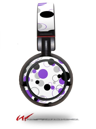 Lots Of Dots Purple On White - Decal Style Vinyl Skin Fits Sony Mdr Zx100 Headphones (Headphones Not Included)