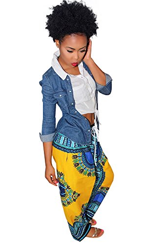 Womens Dashiki Drawstring Waist Trousers Bohemian Wide leg Lounge Pants Yellow L (African Head Wrap For Women compare prices)