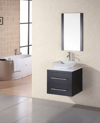 Design Element DEC071C-W Elton 24 in. Single Sink Vanity Set with White Stone Countertop