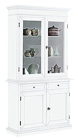 Cristalliera in legno laccato bianco opaco, a 2 porte, 2 ante e 2 cassetti