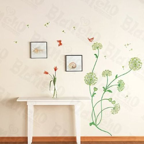 Modern House Green Dandelion in the Wind removable Vinyl Mural Art Wall Sticker Decal