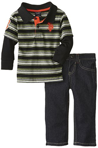 U.S. Polo Assn. Baby-Boys Infant Stripe Polo Hangdown And Denim Jeans Set, Lime Lorry, 12 Months