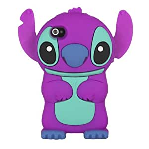 eFuture(TM) Cute 3D Stitch with Movable Ears Rubber Soft Silicone Case Cover Fit for the Iphone4 4S - Purple +eFuture's nice Keyring