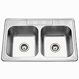 Houzer A3322-65BS4-1 Glowtone 33-by-22-Inch ADA Compliant Double Bowl Drop-In Stainless Steel Sink with Four Faucet Holes