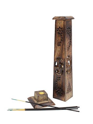 Caja de regalo diseño Yembe hecho a mano de madera de Mango varilla de incienso de soporte para torre quemador de esencias