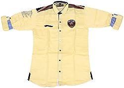 Accurate Boys' Cotton Shirt (SH 142, Yellow, 12)