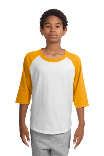Youth Colorblock Raglan Jersey, Color: White/Gold, Size: