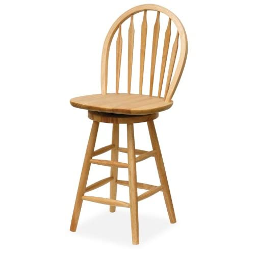 Winsome 89624 Beech Beechwood BAR STOOL WINDSOR 24 Inch ARROW BACK SWIVEL SEAT