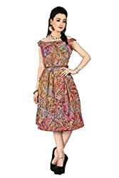 New Arrival Multi color Prism Printed Western Dresses With Ladies Brown Leather Belts Collection by TheEmpire