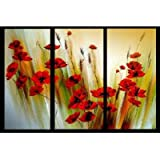 Sangu 100% Hand-painted Lots of Red Flowers Oil Paintings Modern Canvas Wall Art for Home Decoration