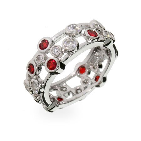 Ruby Bubbles Sterling Silver Ring Size 7 (Sizes 5 6 7 8 9 Available)