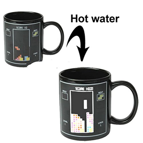 The Fashion Seller-Heat Sensitive Tetris Pattern Color Changing Porcelain Cup Coffee Mug with Handle~