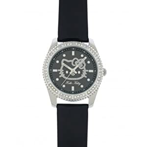 Hello Kitty Children's Analog Quartz Watch with Black Leather Strap - 4401501