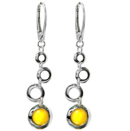 Baltic Butterscotch Amber Sterling Silver Round Multi-circled Leverback Earrings