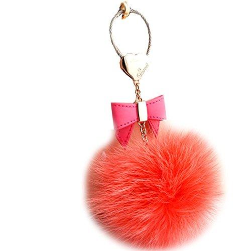 Sweet Home Fashion in pelle fiocco portachiavi auto portachiavi e borsetta Charms- alta qualità grande morbido coniglio/pelliccia di volpe palla con ciondolo a forma di chiave, Bright Red Fox Fur Ball