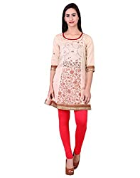 Zooraa Beige Embroidered Printed Cotton Kurti(S)