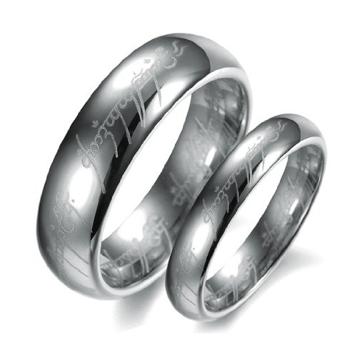 OPK-New Fashion Jewelry Silver The Lord Of The Rings Tungsten steel Wedding Band Anniversary/Engagement/Promise/Couple Ring Best Gift!