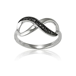 Sterling Silver Black Diamond Infinity Figure 8 Ring (Size 8) Available in sizes 5 - 6 - 7 - 8 - 9 - 10
