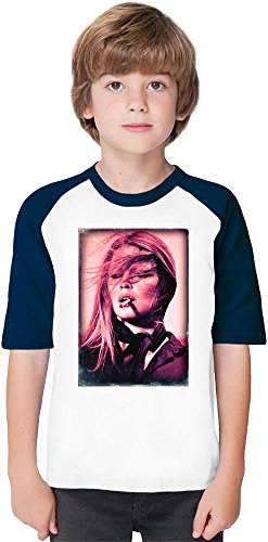 Brigitte Bardot Smoking Retro Soft Material Baseball Kids T-Shirt by True Fans Apparel - 100% Organic, Hypoallergenic Cotton- Casual & Sports Wear - Unisex for Boys and Girls 5-6 years